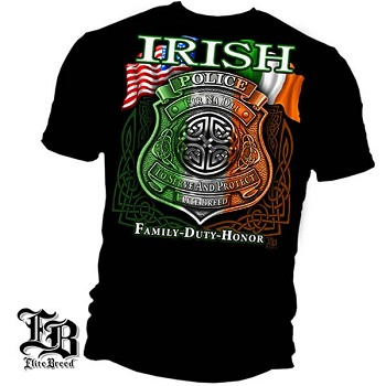 Elite Breed Irish American Police T-Shirt - Black