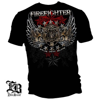 Elite Breed Pride, Duty, Honor Firefighter T-Shirt - Black