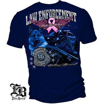 Elite Breed Fight Breast Cancer Law Enforcement T-Shirt - Navy