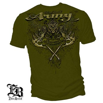 Elite Breed Army Crest and Lions Army T-Shirt - Military Green