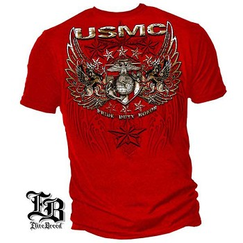 Elite Breed Pride Duty Honor USMC T-Shirt - Red