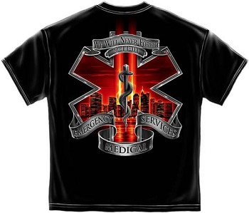 Commemorative 9-11 Never Forget Paramedic T-Shirt