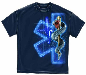 Electric Blue Star of Life EMS T-Shirt