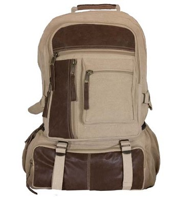 Vintage Cantabrian Excursion Canvas Backpack - Khaki