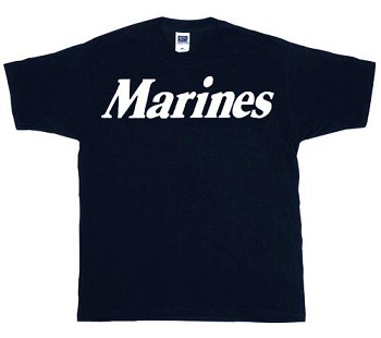 Black Marines T-Shirt with White Text
