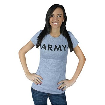 Womens Grey Army Babydoll T-shirt