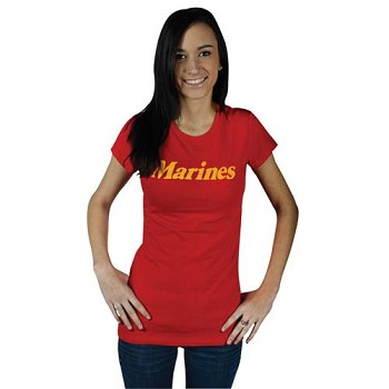 Womens Red Marines Babydoll T-shirt