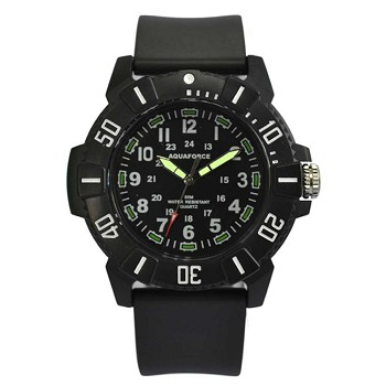 Black Quartz Analog Watch with Light-Up Face