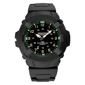 Aqua Force Black Face Analog Tactical Watch - 24-002