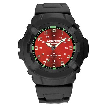 Aqua Force Red Face Analog Tactical Watch - 24-003