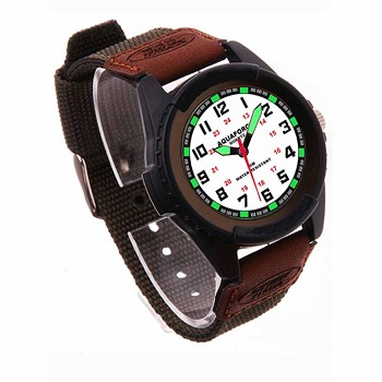 Analog Leather and Nylon Light Up Watch