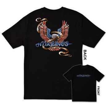Red White and Blue Marine Eagle T-shirt by FL