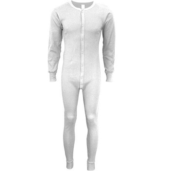 Classic Rib Knit Union Suit White