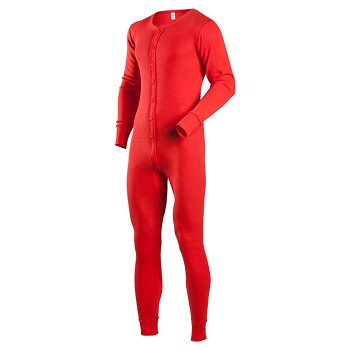 Classic Rib Knit Union Suit Red