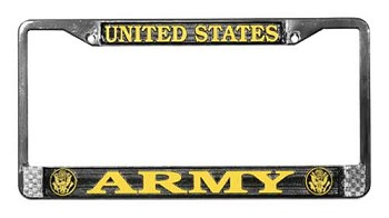 United States Army License Metal Plate Frame