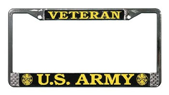 United States Army Veteran Metal License Plate Frame
