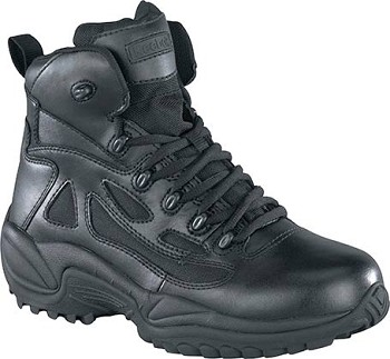 Reebok Mens Rapid Response 6 inch Side Zip Black Waterproof Tactical Boots - RB8688