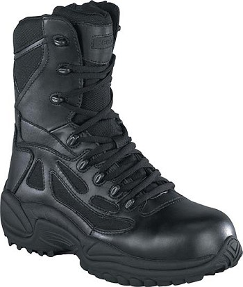 Reebok Mens Rapid Response 8 inch Black Side Zip Tactical Boots - RB8875