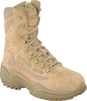 Reebok Mens Rapid Response 8 inch Desert Tan Side Zip Composite Toe Military Boots - RB8894