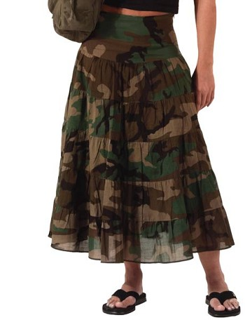Womens Woodland Camo Long Skirt