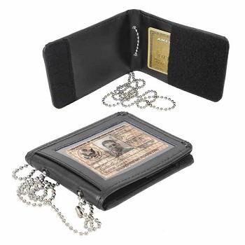 Black Leather ID Neck Wallet