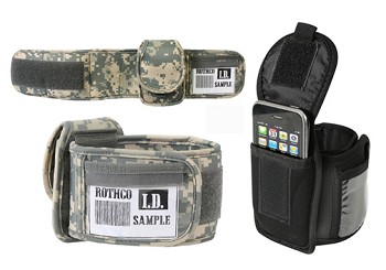 Tactical iPod Holder Arm Band With ID Slot - Black or ACU