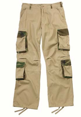 Vintage Khaki Fashion Cargo Fatigue Pants with Woodland Camo Accents