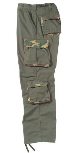 Vintage Olive Drab Fatigue Pants with Camouflage Accents