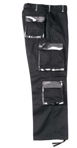 Black High Fashion Cargo Pants with City Camo Accents