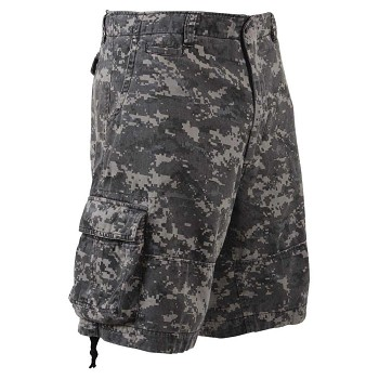 Vintage Subdued Urban Digital Camo Military Cargo Shorts