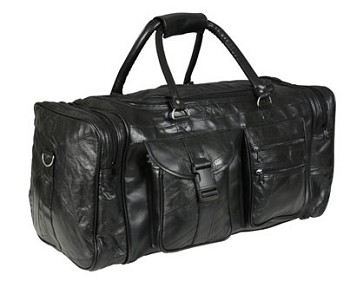 23 Inch Black Patchwork Leather Duffle Bag