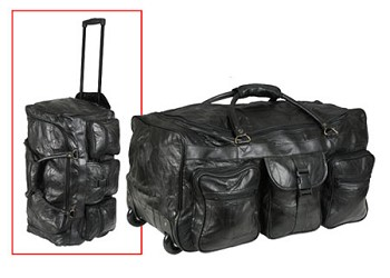 Black Leather Patchwork Wheeled Duffle Bag - 25 inch