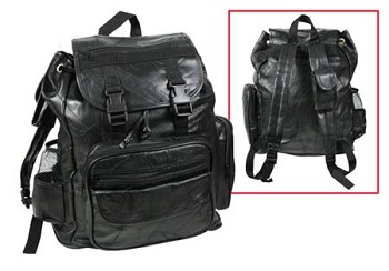 Black Patch Leather Backpack