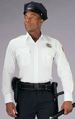 White Long Sleeve Genuine Police Issue Uniform Shirt