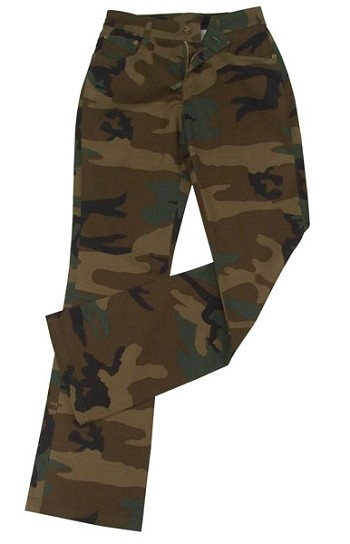 Womens Woodland Camo Stretch Flare Pants