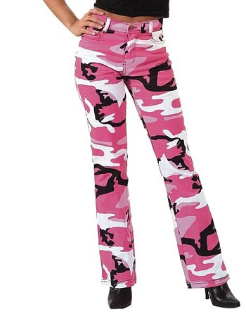 Womens Pink Camo Stretch Flare Pants