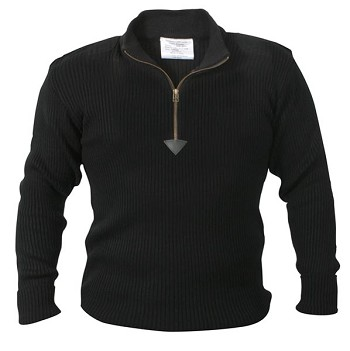 Black Acrylic Quarter Zip Military Commando Sweater