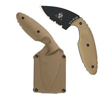 KaBar Coyote Brown TDI Law Enforcement Half Serrated Knife - 1477CB