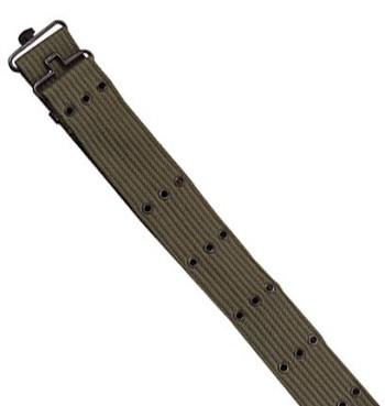 Basic Issue Olive Drab G.I. Style Canvas Pistol Belt with Metal Buckle