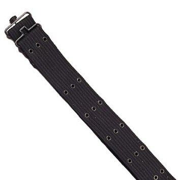 Basic Issue G.I. Style Black Canvas Pistol Belt with Metal Buckle