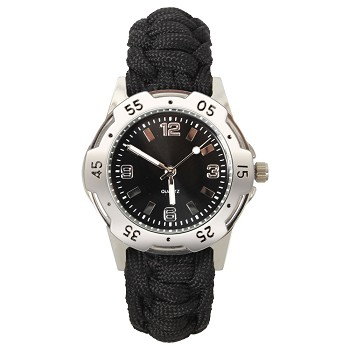 Black Survival Watch with Paracord Watch Band
