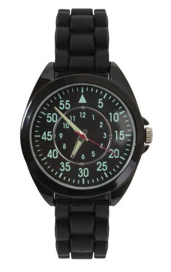 Military Style Watch with Black Silicon Wrist Band