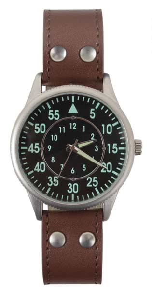 Military Style Watch with Brown Leather Wrist Band