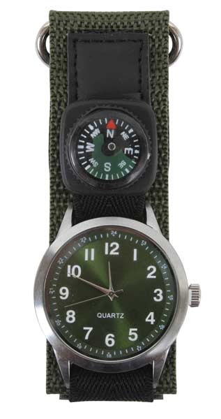 Olive Drab Military Style Watch with Compass