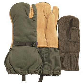 G.I. Surplus Leather Trigger Finger Mittens with  Liner
