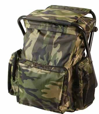 Woodland Camo Combination Camp Stool and Backpack