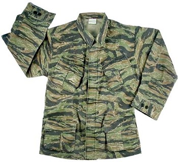 Vintage Vietnam Era Tiger Stripe Camo Military Fatigue Shirt - Rip-Stop
