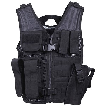 Kids Black Cross Draw Tactical Vest