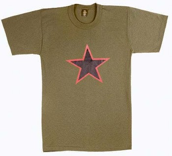 Army Olive Red China Star T-shirt