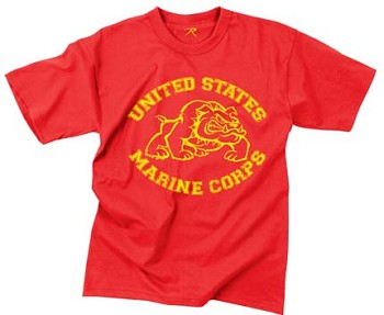 Red US Marines Bulldog T-Shirt